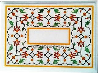 Table de salle à manger en marbre blanc avec pierres multicolores 61 x 76,2 cm