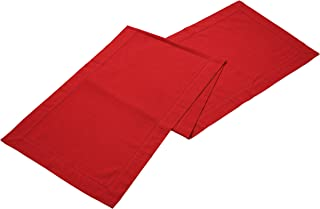 Linen Clubs Slub Cotton Hemstitched Table Runner - Red 16x108