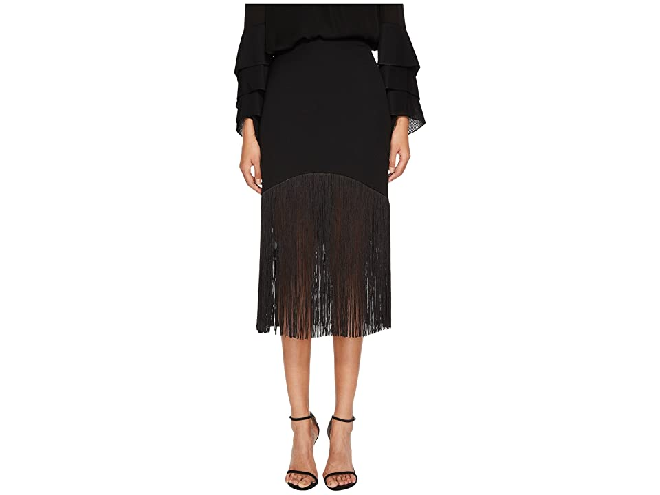Prabal Gurung Polycrepe Fringe Skirt (Black) Women's Skirt