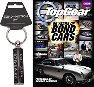Aston Martin 007 Top Gear Spy Pack James Bond 50 Years of Bond Cars & Goldfinger DB5 Gadget Keychain License Number Plate 2-piece Bundle
