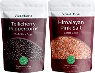 Viva Doria Tellicherry Peppercorn - Black Peppercorns (Steam Sterilized Whole Black Pepper) 12 oz and Himalayan Pink Salt ...