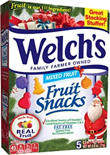 Welch's (1) Box Fruit Snacks - Mixed Fruit Flavors - Holiday Edition Candy with Festive Shapes - Made With Real Fruit - 5 ...