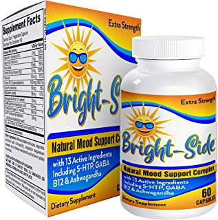 Bright-Side Mood Support Supplements/Vitamins - Natural Mood Booster/Enhancer Pills - 60 Capsules