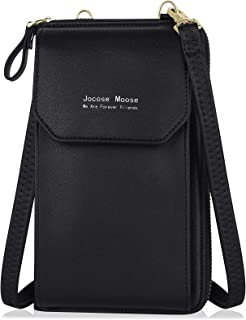 Handy Umhängetasche Damen Leder, Jocose Moose Crossbody Clutch Damen, Retro Geldbörse mit Handyfach Frauen Brieftasche mit...