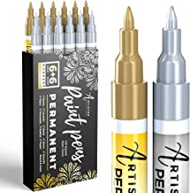 Gold & Silver Paint Pens for Rock Painting, Stone, Metal, Ceramic, Porcelain, Glass, Wood, Fabric, Canvas. Pack of 12 Perm...
