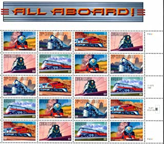 All Aboard Railroad Collectible Stamp Sheet of 20 33 Cent Stamps Scott 3337a