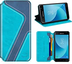 Smiley Samsung Galaxy J5 Pro Wallet Case, Mobesv Samsung J5 Pro Leather Case/Phone Flip Book Cover/Viewing Stand/Card Holder for Samsung Galaxy J5 Pro 2017, Stylish Aqua/Dark Blue