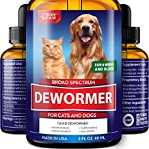 WOWPAW DEW0RMER for Dogs & Cats (2 OZ) - Made in USA - W?rm Treatment for Pets - Natural Powerful Blend Against Whipworm, Hookw?rm, Roundw?rm & Tapew?rm - Senior Pets, Kitten & Puppy Dew?rmer