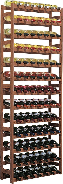Weinregal Flaschenregal System Simplex  Modell 5, für 91 Fl, Holz, Kiefer braun gebeizt