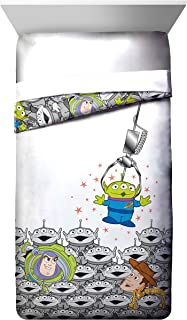 Disney Pixar Toy Story Green Man Twin Comforter - Super Soft Kids Reversible Bedding features Buzz Lightyear and Woody - Fade Resistant Polyester Microfiber Fill (Official Disney Pixar Product)
