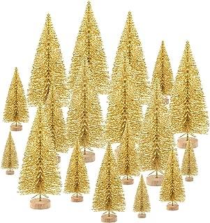 KUUQA 48 Pcs Mini Christmas Trees Bottle Brush Trees Tabletop Model Trees for Christmas Decoration DIY Room Decor Diorama Models (Gold)