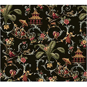 Removable Water-Activated Wallpaper Chinoiserie Toile Asian Chinese Black Bright