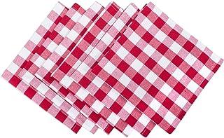 DII 100% Cotton, Oversized Basic Everyday 20x20 Napkin Set of 6, Red & White Check