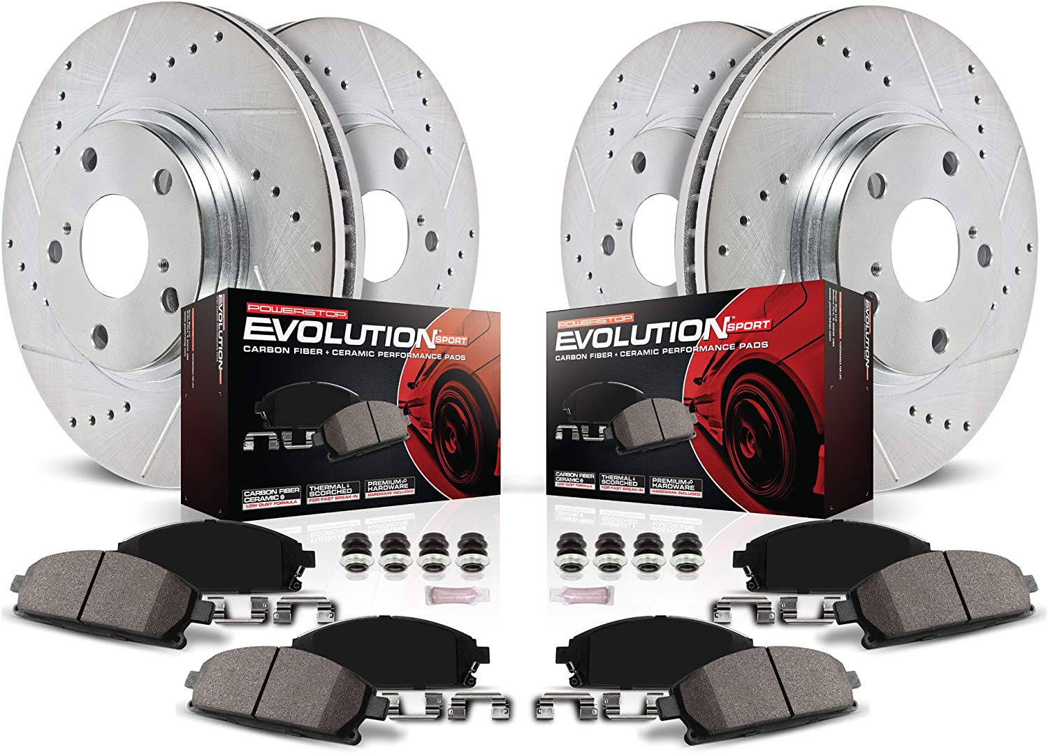 Power Stop K7927 Front and Rear Max 74% OFF Carbon with Z23 Fiber Regular store Brake Pads