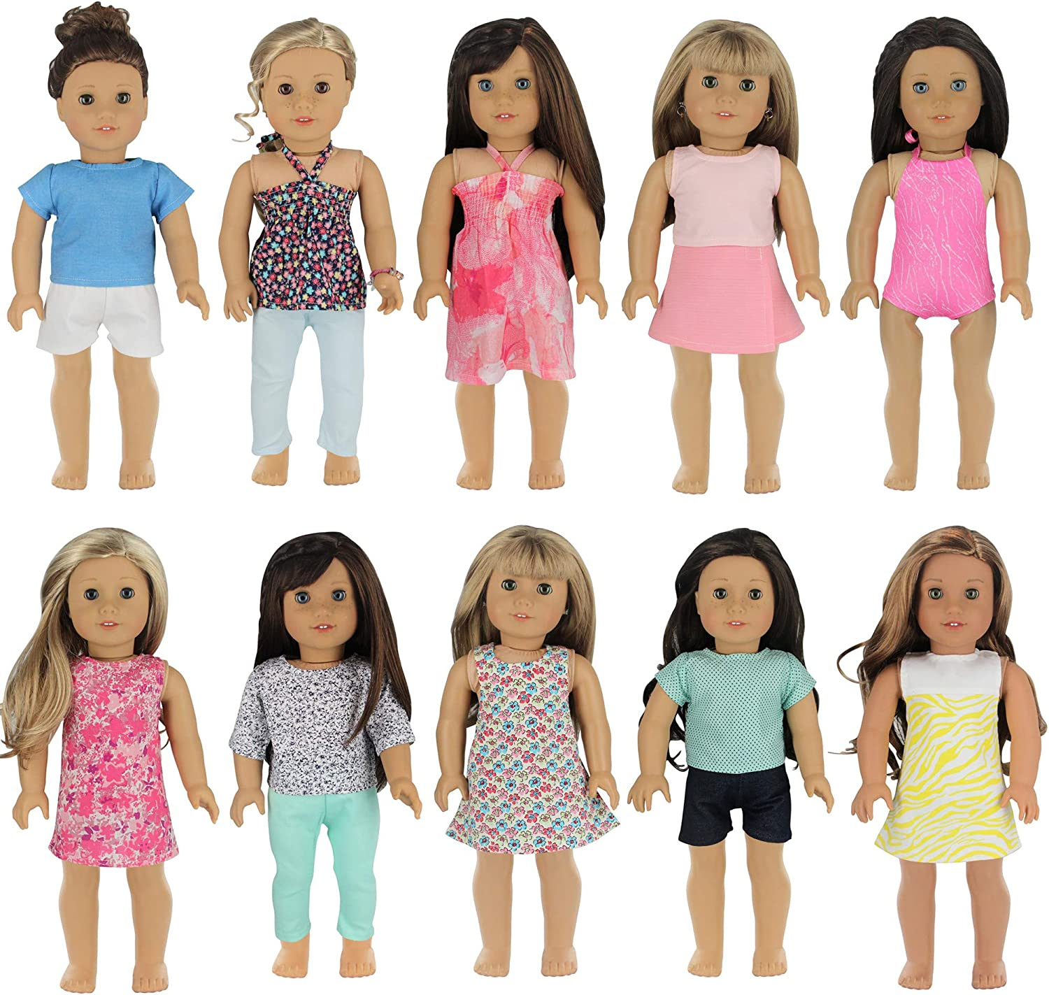 American Girl Doll Clothes Wardrobe Makeover- 10 Complete Outfits Fits 18  Doll Clothes- by PZAS Toys