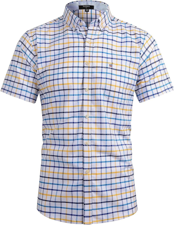 YUEZOON Men's Button Down Shirt Short-Sleeve Regular-Fit Blue Plaid Casual Shirts