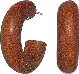 Womens Dark Wood Smalll Hoop Earrings