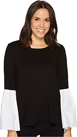 Pleated Bell Sleeve Mix Media Top