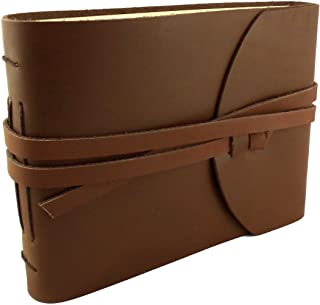"""Rustic Genuine Leather Photo Album with Gift Box - Scrapbook Style Pages - Holds 100 4x6 or 5x7 Photos - Photo Book 6x8"""""""
