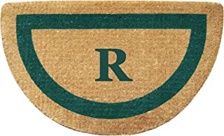 """Heavy Duty 22"""" x 36"""" Coco Mat, Green Single Picture Frame Monogrammed R, Half Round"""