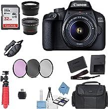 Canon EOS 3000D/Rebel T100/ EOS 4000D Kit con EF-S 0.709-2.165in f/3.5-5.6 III lente + paquete de accesorios + paño para electrónica modelo