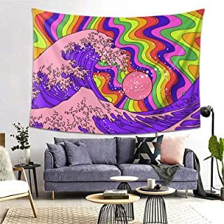 YINCHAOJI Wall Tapestry, Tapestry Wall Hanging Great Wave Psychedelic Hippie Sea Trippy Art Blankets Tapestries for Bedroo...