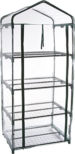 Pure Garden 4-Tier Greenhouse – Outdoor Gardening Hot House with Zippered Cover and Metal Shelves for Growing Vegetab...