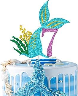 Mermaid Seven Cake Topper, Happy 7th Birthday Cake Decor, I'm Seven Sign, Little Mermaid Birthday Party Decoration Supplie...