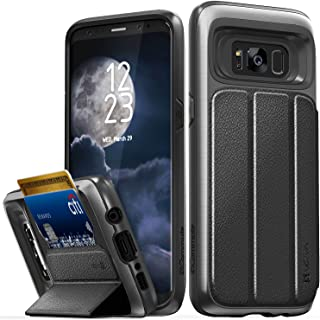 Galaxy S8 Wallet Case, Vena vCommute Military Grade Drop Protection Flip Leather Cover Card Slot Holder with KickStand for Samsung Galaxy S8 (Space Gray, Black)
