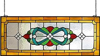 "Yogoart Large Tiffany Style Stained Glass Window Hanging Horizontal Stained Glass Window Panels 30"" X 12"""