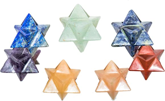 FASHIONZAADI Seven Chakra Stacked Stone Merkaba For EMF Protection Balancing Chakras Reiki Healing Energy Peace