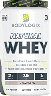 Bodylogix Natural Grass-Fed Whey Protein Powder, NSF Certified, Unflavored, 1.6 Pound