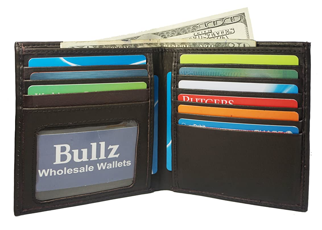相関する母音セミナー本革メンズ二つ折りヒップスターウォレットクレジットカードホルダー新しいby Bullz