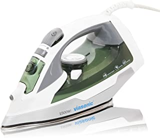 Viasonic Signature 1500W Steam Iron - Anti-Drip & Self-Cleaning, Anti-Calcium, Vertical Steam - Stainless Steel Soleplate - XL 300ML Tank - Steam, Spray, or Dry - ETL Listed