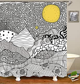 OCCIGANT Fashion Minimalism Shower Curtain Hand Drawn Illustration Abstract Mountain Floral Gravel Road Yellow Swimming Pool Waterproof Polyester Bathroom Decor Set with Hooks,72