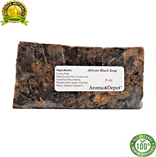 8 oz Raw African Black Soap 100% Natural soap for Acne, Eczema, Psoriasis, Scar Removal Face And Body Wash. Handmade by Aroma Depot