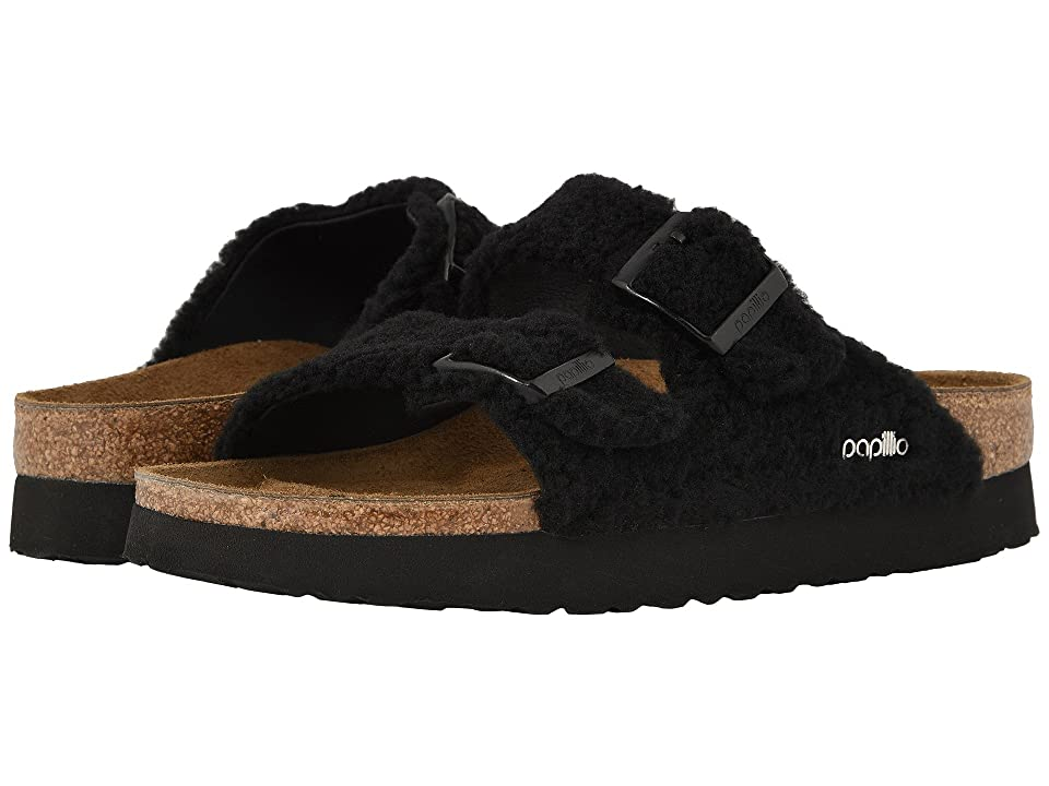 Birkenstock Arizona Platform (Plush Black Synthetic Fleece) Women