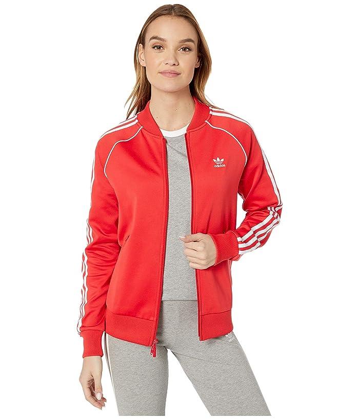 70s Jackets, Furs, Vests, Ponchos adidas Originals Superstar Track Jacket Lush RedWhite Womens Coat $59.99 AT vintagedancer.com