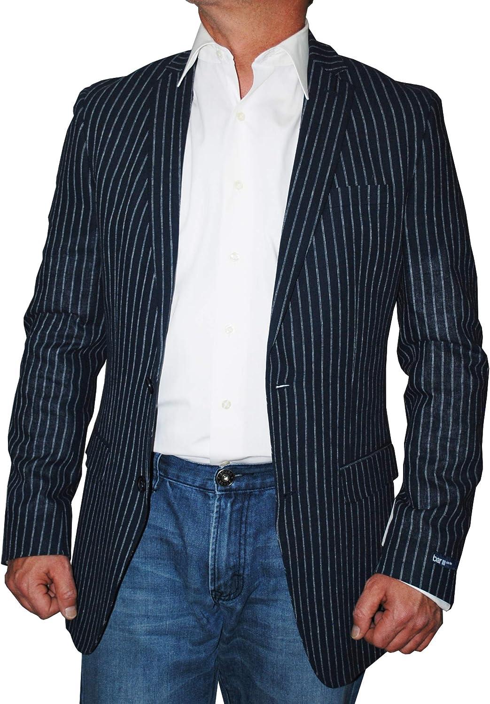 bar III Carnaby Men's Bold Striped 2 Button Slim Fit Sport Coat, Navy 38L