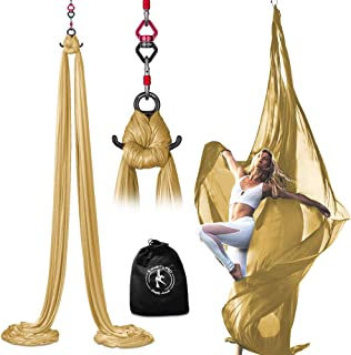 X Habits Pro Professional Aerial Silks Equipment for All Levels - Medium Stretch Aerial Yoga Swing & Hammock Kit - Perfect...