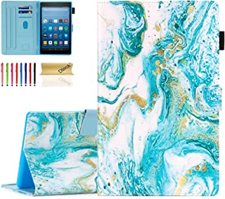 Dteck Wallet Case for Kindle Fire HD 8 Tablet (8th Generation 2018 & 7th Generation 2017 & 6th Generation 2016) - Smart Stand Folio Cover with Auto Sleep Wake/Pencil Holder/Stylus Pen (Marble Art)