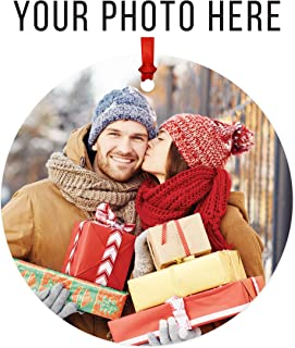 Andaz Press Fully Personalized Round Metal Christmas Ornament, Your Photo Here, 1-Pack, Includes Ribbon and Gift Bag, with Custom Photo Keepsake for Grandparents Godparents Mom Dad Kids Pictures