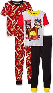 LEGO Boys' Little Movie 2,4 Piece Pajama Set,Glow in The Dark, Batman