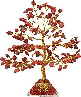 PREK Natural Red Jasper Crystal Gemstone Bonsai Money Tree for Reiki Healing Good Luck, Home Office Decor Gift with Golden...