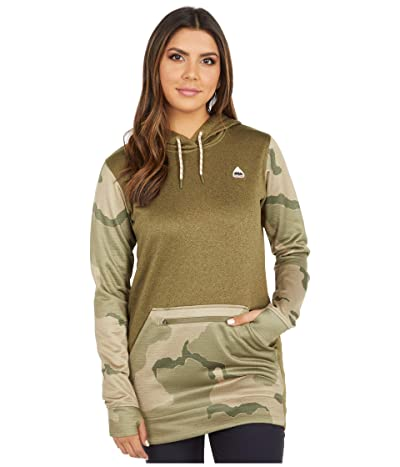 Burton Oak Long Hoodie Pullover (Martini Olive Heather/Barren Camo) Women