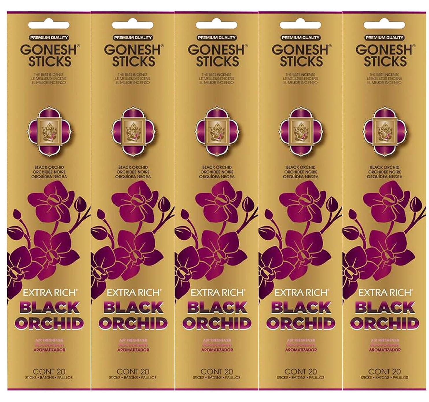 協力的モーション明確にGonesh お香スティック エクストラリッチコレクション - ブラックオーキッド 5パック (合計100本)