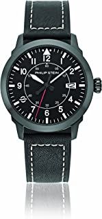 Philip Stein Men's Sky Finder Stainless Steel Japanese-Quartz Watch with Leather Strap, Black, 21 (Model: 700B-PLTBK-CSWB)