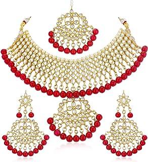Sukkhi Glorious Kundan Gold Plated Choker Necklace Set for Women (N73542_D1)