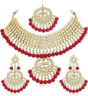Sukkhi Gold Plated Kundan Pearl Fancy Choker Necklace Set Traditional Jewellery Set with Earrings for Women & Girls (N73542_D1)