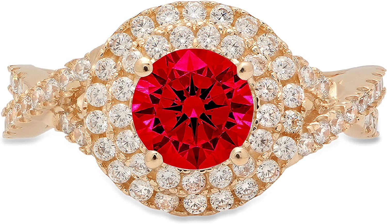 OFFer Clara Al sold out. Pucci 1.5 ct Round Cut halo Stunning Genu Solitaire double